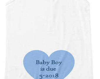 BABY BOY is DUE in May 2018 shirt**Women's Flowy Tank****Choose your size (Small - 2XL) ** Choose shirt color--White, Blue, Black
