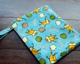 The Lorax Organic Cotton Wet Bag~ Reuseable waterproof PUL Bag~ Swim, Travel, Baby, Child, Beach Bag