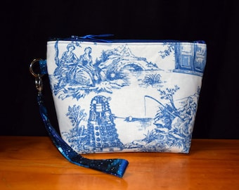 Tardis & Dalek~Toile De Jouy Blue Police Boxes~ Doctor Who~ Wristlet, Clutch Purse, Wristlet Bag with Detachable Strap