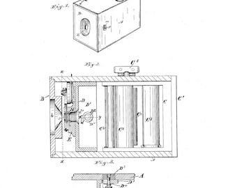 Eastman Camera Patent #408596 dated August 6, 1889.