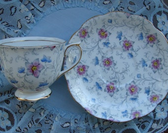 Royal Albert - Bone China England - Vintage Tea Cup and Saucer - Blue and Pink Flowers with Grey Vines