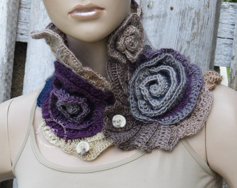 Crochet  Scarf  Freeform crochet Navy blue Purple Beige Gray Capelet Cozy Neck Warmer Roses Freeform crochet Womens scarf/gift
