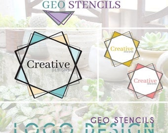 Logo Design- Geo Stencils: premade logo design customized with your business & colors, branding, etsy shop, banner - LRD007PS