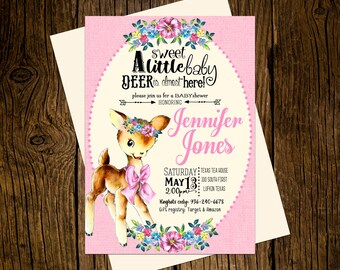 Deer Woodland Baby Shower Invitations Personalized Custom Printed Set of 12 Party Invites Vintage Ecru Pink Girl