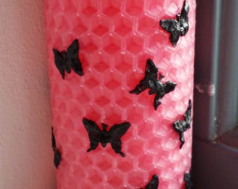 Rose Butterfly Pillar Candle