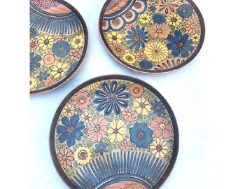 Hand painted & Hand made Dinnerware -- Mexican Dinnerware -- Painted Plates -- Hand Painted Mexican Dining Set -- Floral Dinnerware