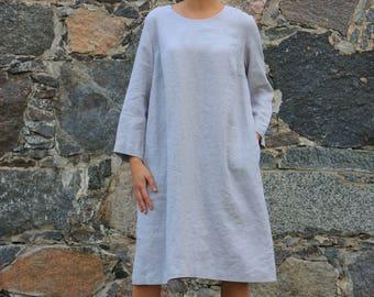 Linen maxi dress / Linen dress/ Loose linen dress / Washed linen dress / Boat neck dress / women linen / Casual linen dress / Flax clothing
