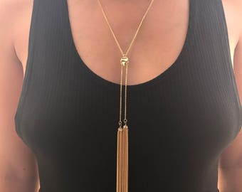 18k GP Y Lariat Necklace, dainty jewelry, Delicate Necklace, minimal jewelry, elegant necklace, gold plated necklace, bridesmaid gift