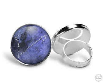 Pisces Constellation Ring | Pisces Ring Zodiac Ring Adjustable Ring Constellation Jewelry Galaxy Ring Star Astrology Horoscope