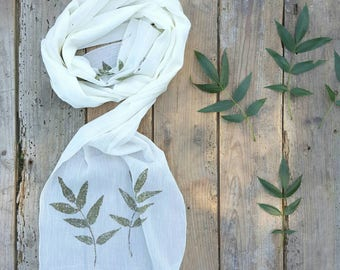 Scarf cotton scarf, ecru, leaf, natural vegetable dye