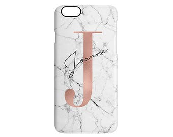 White Marble Copper Letter Custom Personalised Calligraphy Name Initial Phone Case Apple Samsung
