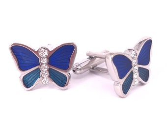 Butterfly in Blue and Green Cufflinks