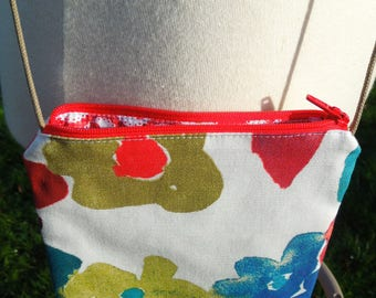 """Small bag printed to wear over the shoulder """"Colorful flowers"""""""