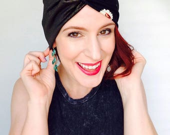 Ladies Turban, Shimmer Headband, Fashion Head Scarf, Boho Headband, Hippie Turban, Twist Turban, Chemo Headwrap, Floral Headband