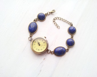 Bracelet Watch, Beaded Watch, Ladies Watch, Wrist Watch, Watches beads, watch wrist, watch with beads, watches with stones, lazurite