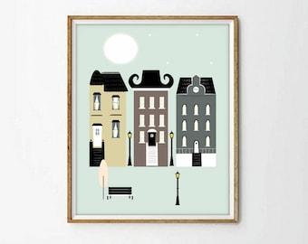 city print, night print, moon print, cityscape, poster print, nursery art, living room, wall art decor, modernist art,5 SIZES INCLUDED