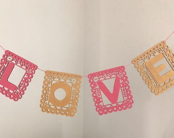 LOVE Papel Picado, Custom Fiesta Garland, LOVE Garland, Party Garland, Fiesta Decor, Nursery Decor. Personalized Garland