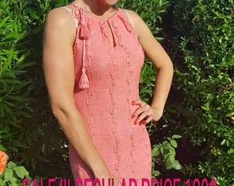 SALE Knitted Dress Elegant Dress Pink Cotton Dress Open shoulders Summer dress Silk dress Fitted dress Coral dress