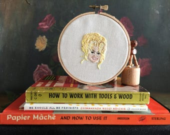 Dolly Parton hand embroidered portrait