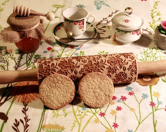 Flowers Embossing Rolling Pin. Floral Retro Style. Engraved rolling pin with Flowers for embossed cookies. Baking Gift