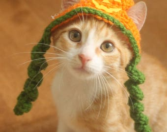 Jackolantern Cat Hat, Pumpkin Cat Hat, Halloween Cat Hat, Jack-o-lantern Hat for Cats and Small Dogs, Halloween Pet Accessory, Hats for Cats