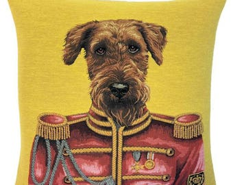 Airedale Terrier Pillow Cover- Dog Portrait Cushion Cover -  Ringo Star Gift - Beatles Decor - 18x18 belgian tapestry cushion - PC-5706