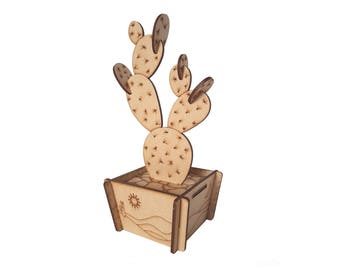 Build Your Own Prickly Pear Cactus Kit, Laser Cut Wood Model, Wooden Plant, Medite MDF