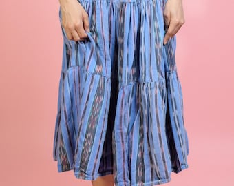 Vintage Hand Loomed Guatemalan Skirt Blue Lilac S