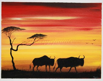Wildebeest at Sunset Red and Yellow with Acacia Tree Wall Art Print