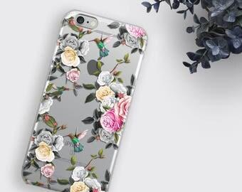 Hummingbird iPhone 7 Case Floral iPhone SE Case Clear Phone Case Rose Flower iPhone 6S Plus Case Transparent Samsung Galaxy S8 Case LG G5