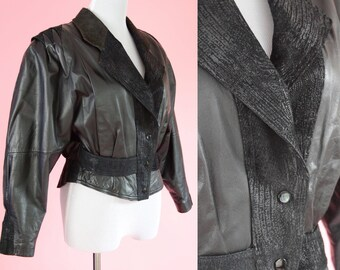 Vintage Cropped Leather Jacket // 1980s, Biker Coat, 80s Prom, Black, Vintage Outerwear, Women Size Small, Medium