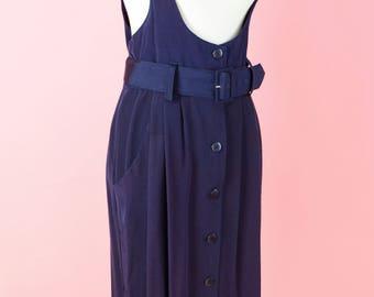 80s Jumper Dress // Vintage 1980s, Blue Dress, Belt, Suspenders, Women Size Small, Medium