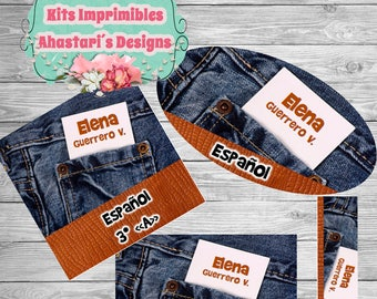 Kit Denim printable Editable school labels