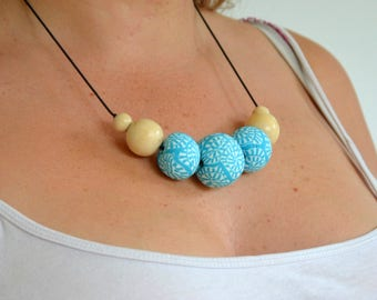 Blue and White Bead Necklace