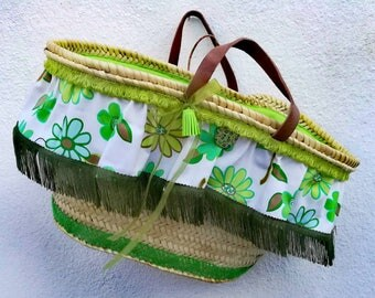 Wicker Carrycot, traditional Portuguese carrycot, straw Seira, basket, basket, handmade, personalized carrycot, beach bag, shopping basket