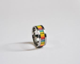 Recycled skateboard Rainbow titanium ring