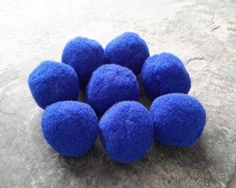 25 mm rondstype felt ornament blue dark, tassel pendant tassels round balls, hobby, 10 pcs