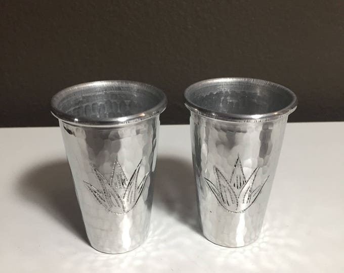2-pack of 2oz hammered aluminum shot glasses with Agave plant engraved