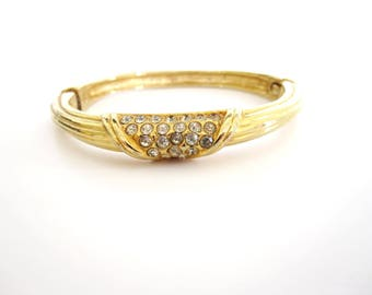 Bangle Gold Tone Metal Bracelet, Hinged With Clear Rhinestones, Women's Vintage 1970s