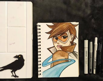 Overwatch Tracer Watercolor Ink Illustration