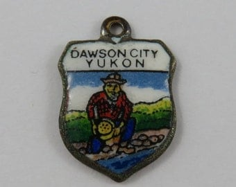 Dawson City Yukon Enamel Travel Shield Silver Vintage Charm For Bracelet