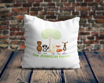 Personalised Woodland Animals Family Cushion Pillow Cover | Home Sweet Home | Holidays | Christmas | Birthday Gift | Available Worldwide