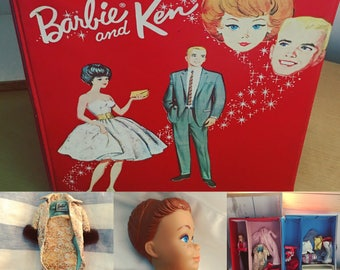 Vintage Barbie Lot 1960's Barbie Ken Red Wardrobe Carry Case with Midge 'Wigs Wardrobe' Doll, Clothes, Accessories