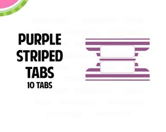 Purple STRIPED Tab Stickers    10 Kiss-Cut Stickers   Planner Tabs, Midori Tabs, Bible Tabs, Divider Tabs, War Binder Tabs   LB234