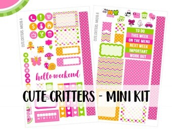 a La Carte   Cute Critters Mini Kit   Spring, Easter, Butterfly   Erin Condren and Mambi    MK018