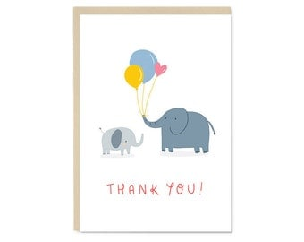 Thank you! Elephants with Balloons Card | Cute kawaii thank you A6 blank greetings card