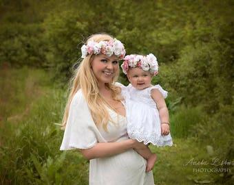 Mommy and Me Flower Crown, Baby Flower Crown, Adult Flower Crown, Flower Girl Flower Crown, Floral Crown, Tieback Flower Crown Headband