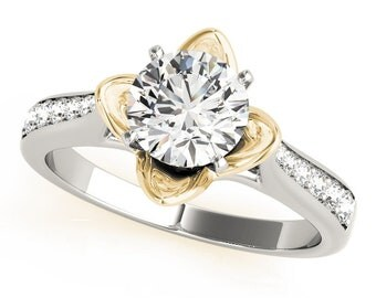 Forever Brilliant Moissanite Cathedral Lotus Floral Petite Diamond Engagement Ring in Two-Tone