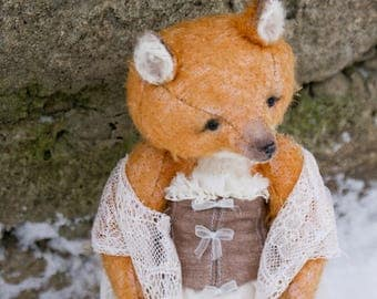 READY FOR ADOPTION Teddy the fox Artist teddy bear Plush toy Stuffed fox Toys handmade Fox stuffed animal