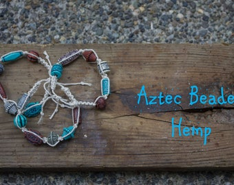 Aztec Beaded Bracelet with Hemp